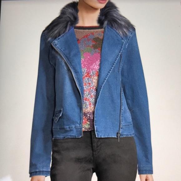 7041fb725735 Nanette Nanette Lepore Faux Fur Denim Jacket